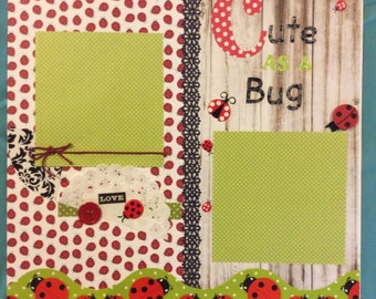 """Premade """"Cute as a Bug"""" scrapbook page"""