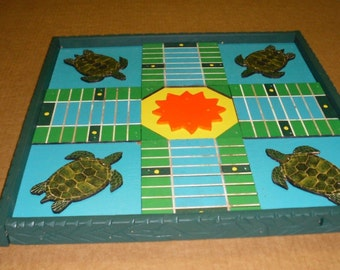 Sea turtle, surfers Parcheesi game board inlay raised wood