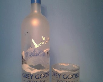 Grey Goose ® Short Recycled Glass ( Set of 4 ) Liquor Bottle Tumblers