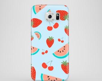 Fruit Salad phone case, baby blue Samsung Galaxy case, Samsung Galaxy S7, Samsung Galaxy S6, Samsung Galaxy S6 Edge, Samsung Galaxy S5