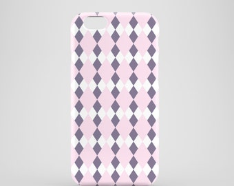 Pastel Pink Argyle iPhone case, lilac iPhone 7 case, pastel iPhone 7 Plus case, iPhone SE, iPhone 6S, iPhone 6, iPhone 5S, iPhone 5
