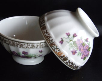 French Vintage Cafe au Lait bowls Limoge Sofafits//Limoges Pottery//Cafe au lait//French Coffee Bowls