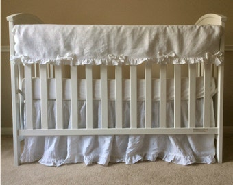 White Crib Rail Guard with Crib skirt,  bumperless crib bedding Linen crib rail guard, rail cover for crib,