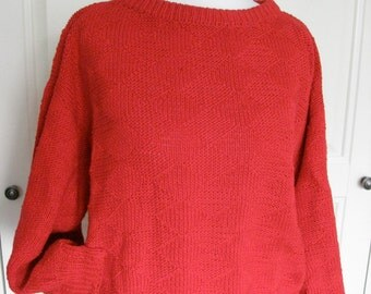 Jumper cotton red hand knit small