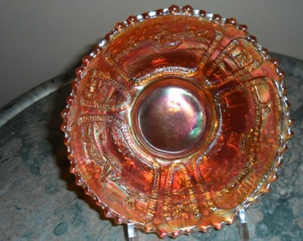 "Antique Carnival Glass - Vintage Fenton Pumpkin Marigold ''SAILBOAT"" Bowl - Iridescent Glass - Collectible Art Glass (350)"