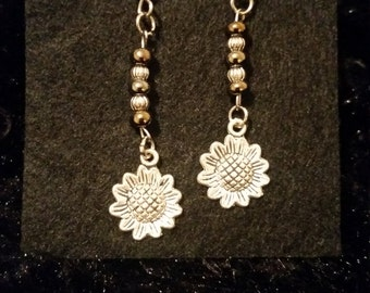 Gold and Silver Sunflower Earrings