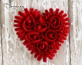 CLEARANCE! Red Unfrayed Chiffon Heart - Rosette Heart Applique - Valentines Day Flower Supplies - Wholesale Flowers - Boutique Hair Supplies