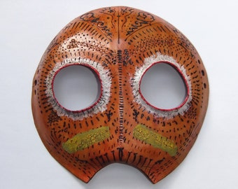 Leather Tribal Mask - Round