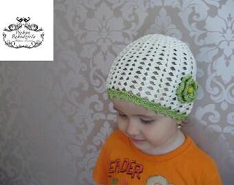 Crochet Hat Green & White for Girls, Toddler Girls Hat ,Children Clothing