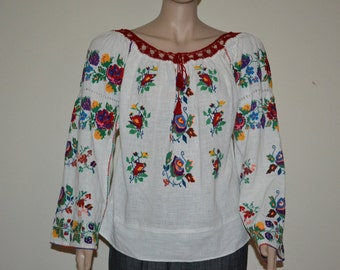 Gorgeous Antique hand embroidered folk peasant traditional Romanian linen top blouse