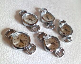 Set of 5 antique Silver watch faces, round quartz watch face wholesale