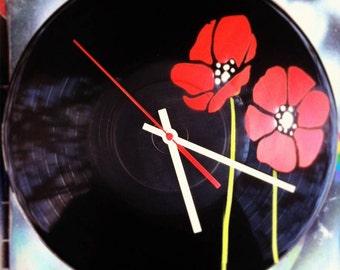 Flower, poppy red vinyl record spray paint decoration handmade stencil clock