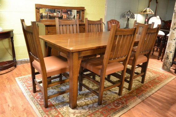 mission oak dining table and set of 6 dining chairs craftsman prairie