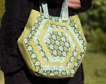 Hexagon patchwork green and turquoise hand bag