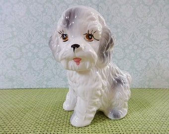 Vintage ceramic poodle puppy dog figurine statue 16cm high retro kitsch ornament