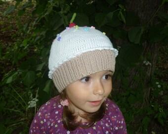 Cupcake Hat, Sweet Baby Girl Hat, Baby Cupcake Hat, Hand Knit Cupcake Hat, Cupcake with Cherry Hat, Knitted Cotton Hat, Cupcake Beanie