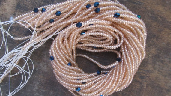 Pastel colors waist beads with crystals, stranded on cotton thread, 42/44 inches, 4 different shades, Fair Trade