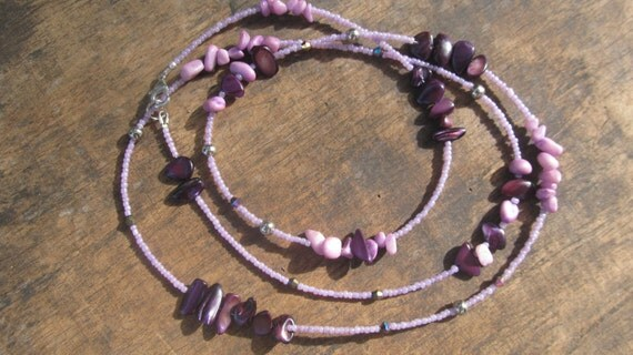 NATY custom made waist beads, African amethyst chips, tiny glass seed beads, dyed natural stones, Fair Trade