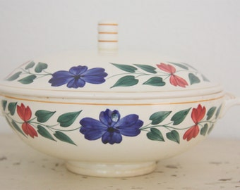 Vintage Société Ceramique Maestricht Large Ceramic Serving Dish with Lid,