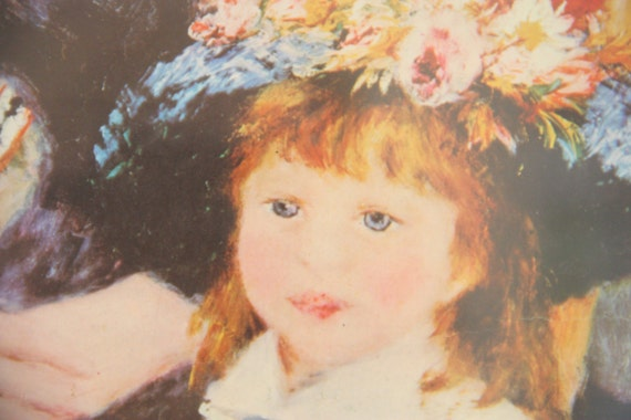 Vintage Large Wooden Frame with Old Painting Print 'Dans La Terrasse' (Two Sisters) by Pierre-Auguste Renoir, Under Glass