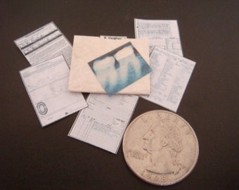 Miniature  Orthodontist / Dentist Dental    Patient Medical Records in File   -  Dollhouse 1:12 scale