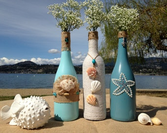 Beach Weddings. Painted Wine Bottles. Wedding Centerpiece. Patio Decor. Home Decor. Cottage Decor.