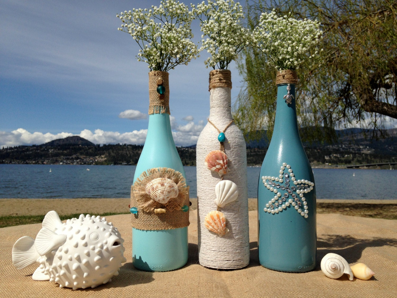 Beach Weddings Painted Wine Bottles Wedding Centerpiece