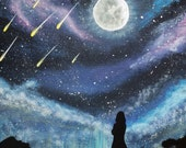 Meteor Shower Silhouette Painting, Original Acrylic Painting on Canvas, Original Artwork, Night Sky Meteor Shower, Stars on Canvas