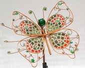 Butterfly Metal Outdoor Sculpture, Copper and Stain Glass