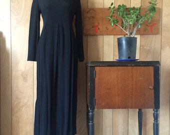 Vintage 1980's David Benjamin Black Long Sleeve Jumpsuit Medium