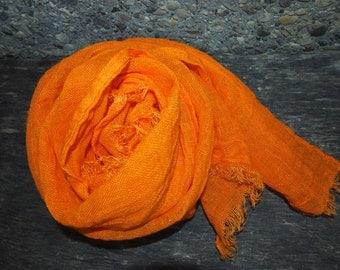 Orange Linen Scarf, Eco Scarf, Natural Linen Scarf