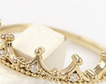 Gold Colored Crown Ring with Jewels