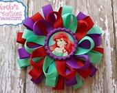 Ariel Hair bows, Mermaid Hair bows,Princess Ariel Hair Bows,Disney Ariel Hair bow, Purple, Red, Light Aqua Loopy Hair bow with Ariel Center.