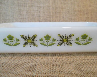 Vintage Fire King Meadow Green by Anchor Hocking Casserole Dish