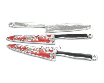 4 pieces - Bloody Knives Charms Pendants CE-016-THL.15