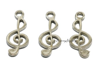 10 pieces - 9x26 mm G Clef Musical treble clef Charms Pendant Findings Silver Tone CS-073-SRR.2