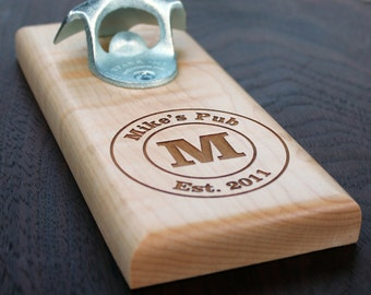 Personalized Bottle Opener, Wall Mount, Magnetic Mount, Man Gift, Groomsman Gift, Man Cave