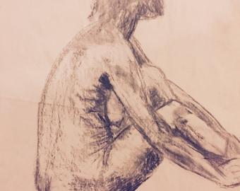 Woman sitting 3.Charcoal drawing. 4/17
