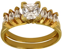 Ring Enhancer Wrap For Solitaire W/ Marquise CZ's In Heavily Plated 14kt Gold