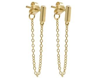gold bar earrings - chain earrings - Tiny bar chain earrings -  bar earrings - gold bar earrings with chain