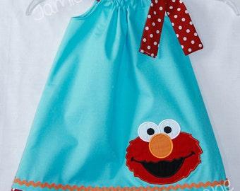 Elmo  Aqua and Red Pillowcase Style Dress