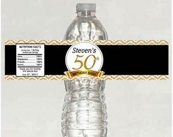 Personalized 50th Birthday Water Bottle Labels - Digital File