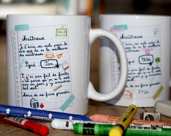 """Mug """"Best master or Mistress"""" (boy). Personalized Coffee Cup. Teacher gift. Text and graphics by CHEEP creations. Made in France"""
