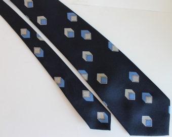 Vintage Christian Dior Monsieur Necktie Blue and Grey Cubes Design