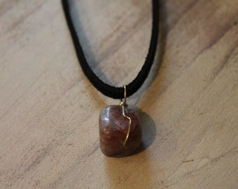 Wire Wrapped Marble Reddish Necklace
