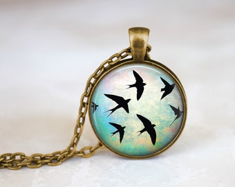 Bird Silhouettes -  Nature Handmade Pendant Necklace