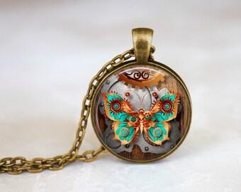 Butterfly - Steampunk Handmade Pendant Necklace