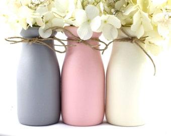 Baby Shower Decor Baby Shower Centerpiece  Pink and Gray Baby Girl Nursery Decor Gift Ideas Half Pint Painted Milk Bottles Flower Vase