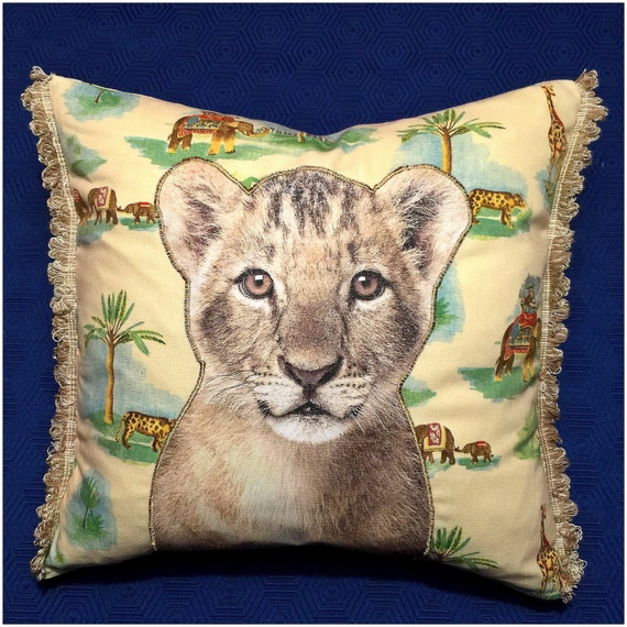 Lion cub kids pillow with Tooth Fairy Pocket On animal print