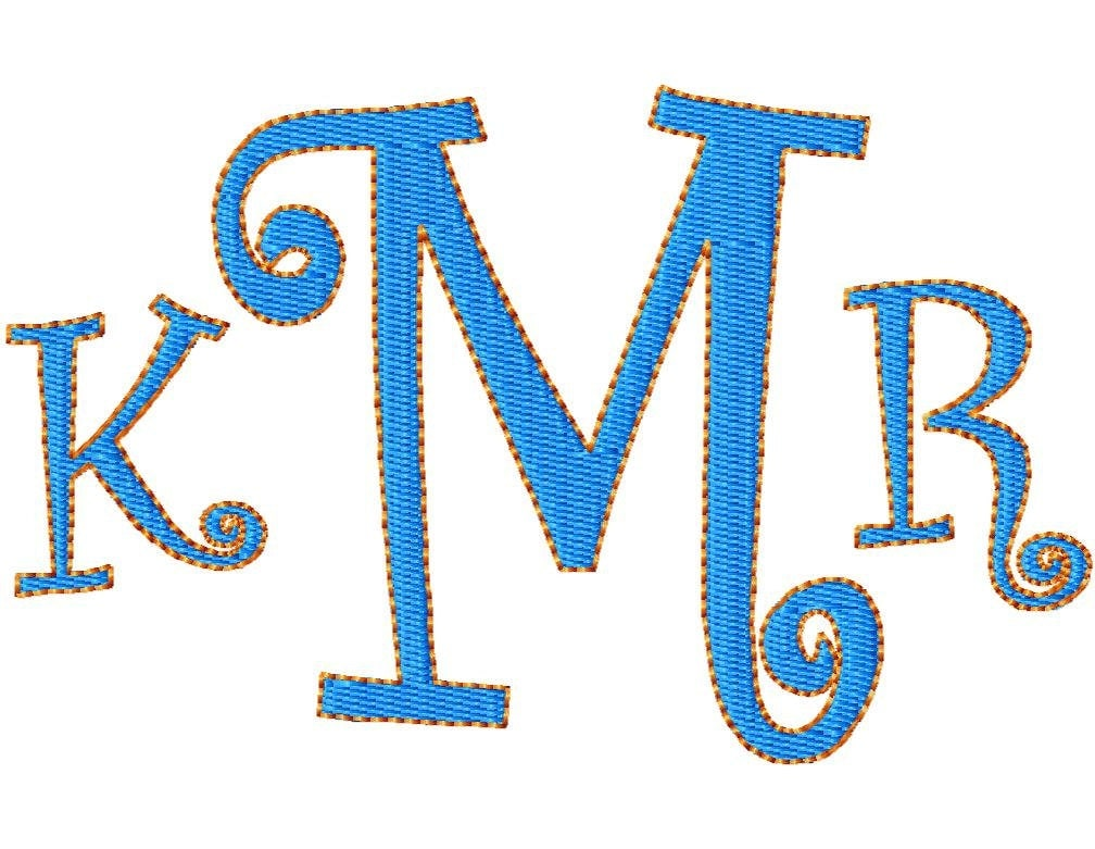 Custom name monogram embroidery design by snugamatedesigns